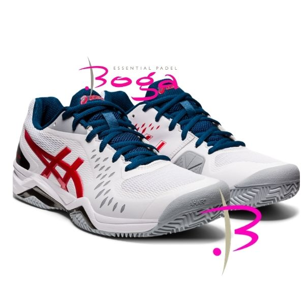 zapatilla asics challenger 12 clay classic red blanca